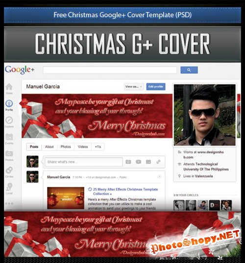 Christmas Google Cover PSD Template