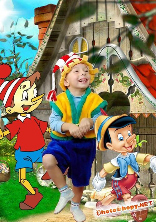 Детский шаблон для фотошопа - Буратино