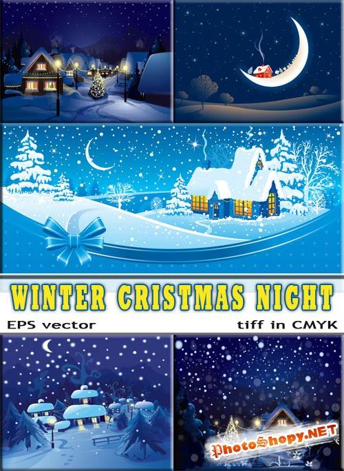 Темная ночь перед рождеством елки в снегу (eps vector)