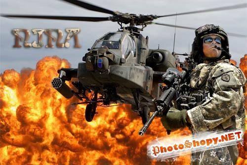 Шаблон для фотошопа - Костюм военного