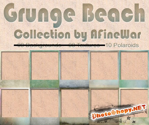 Grunge Beach Polaroids Textures Collection