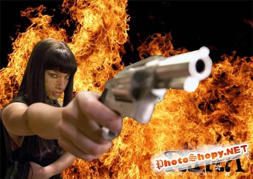 Шаблон для фотошоп-Девушка с пистолетом