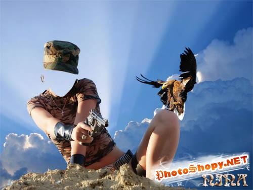 Шаблон для фотошоп-Девушка и орел