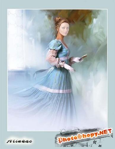 Шаблон для фотошоп - Дама в голубом платье!