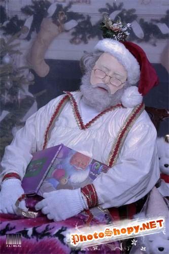 Шаблон для фотошоп - Спящий Санта!