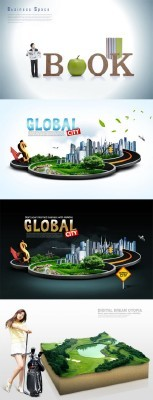 4 PSD Sources - 3D Global City