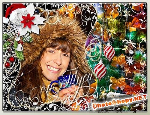 Новогодняя рамка для фото - Дарит искры волшебства Светлый праздник Рождества!