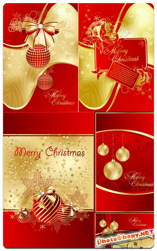 Яркие красный с золотым открытки - рождественские каникулы (vector & raster)
