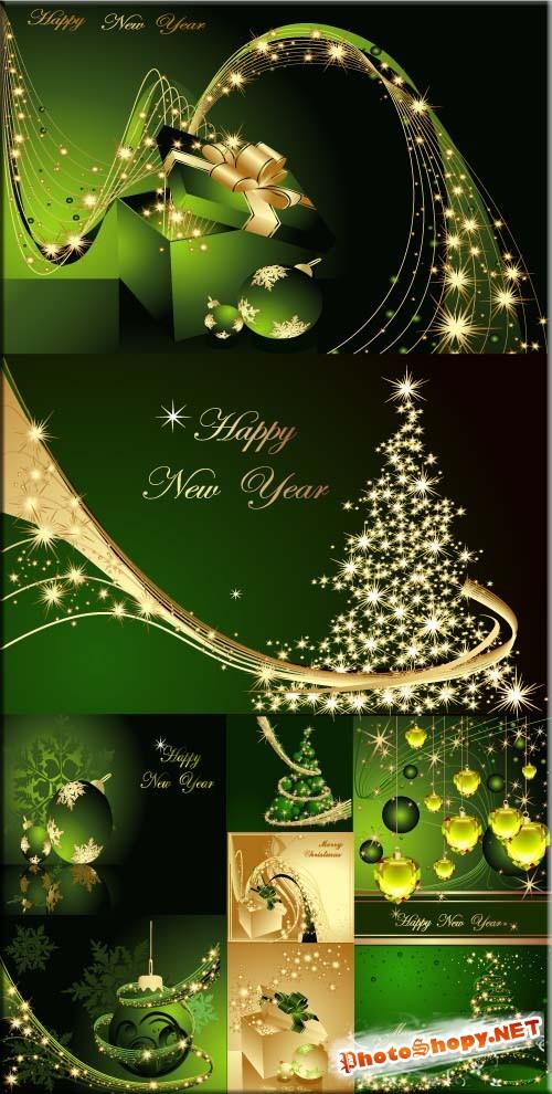 Яркие зеленый с золотым открытки - рождественские каникулы (eps vector)