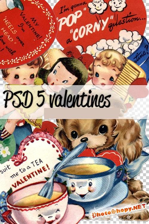 5 Valentines Vintage PSD Template