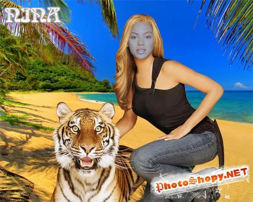 Шаблон для фотошопа - Девушка с тигром