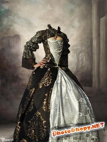Шаблон для фотомонтажа - женский старинный костюм