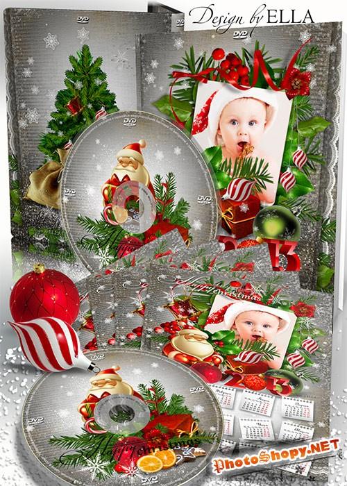 Новогодний набор-календарь,обложка и задувка на диск-Merry Christmas