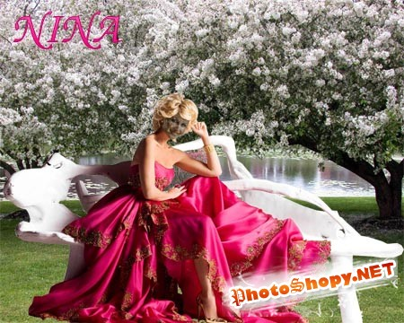 Шаблон для фотошопа - Девушка в саду