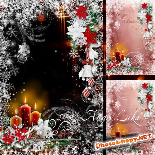 Зимняя праздничная фоторамка - Рождественские свечи