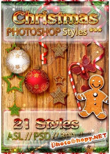 Новогодние и рождественские стили для Photoshop