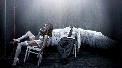 Шаблон psd для фотошопа - ангел и девушка