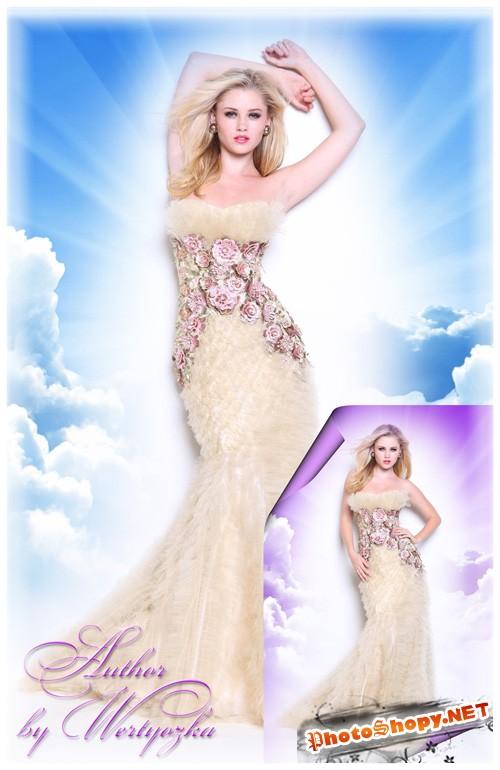 Обаятельная блондинка в изысканном вечернем платье - Шаблоны для фотошопа