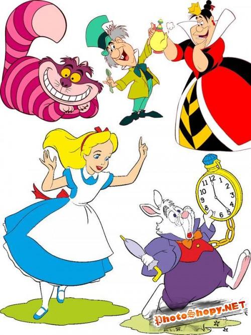 Алиса, Белый кролик, Чеширский кот, Мартовский заяц и другие в векторе