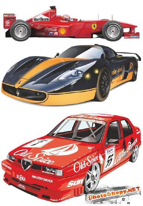 Гоночные и спортивные автомобили в векторе