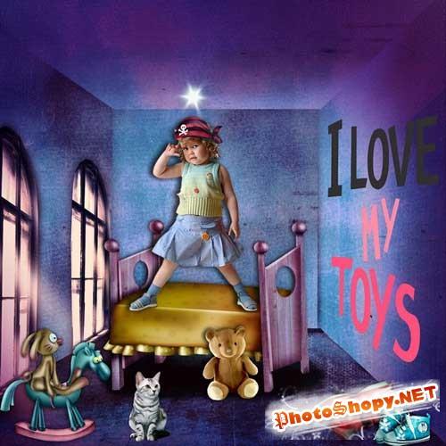 Интересный детский скрап-набор - Я люблю свои игрушки
