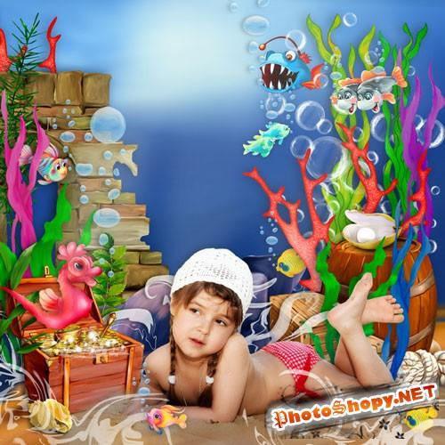 Детский морской скрап-набор - Что скрывает океан
