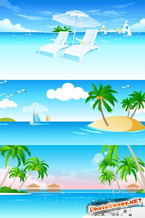 Пляж, море и отдых - векторный сток