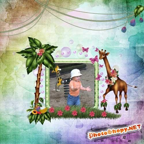 Детский нарисованный скрап-набор - Жирафы любащие танцевать