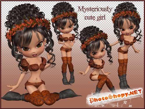 Детский 3D скрап-набор - Таинственная девушка