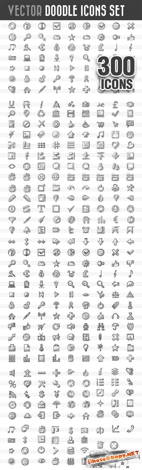 Designtnt - Doodle Icons Vector Set 1