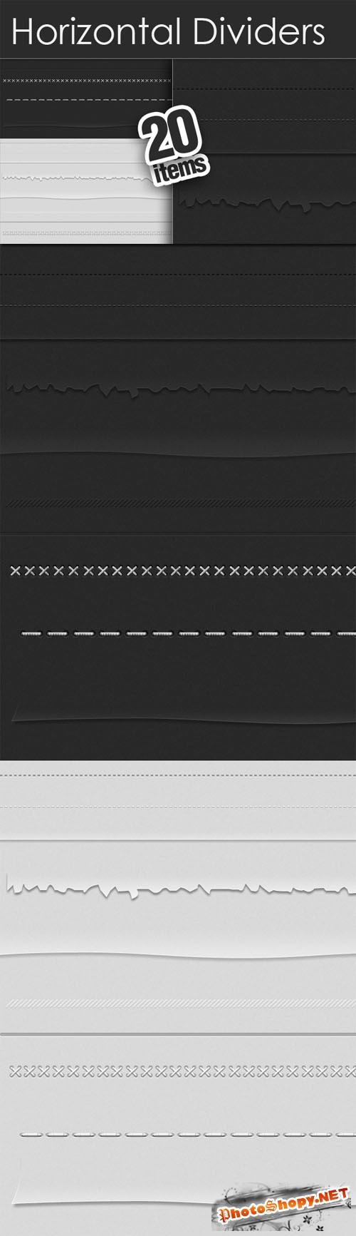 Designtnt - Horizontal Dividers Set for Photoshop