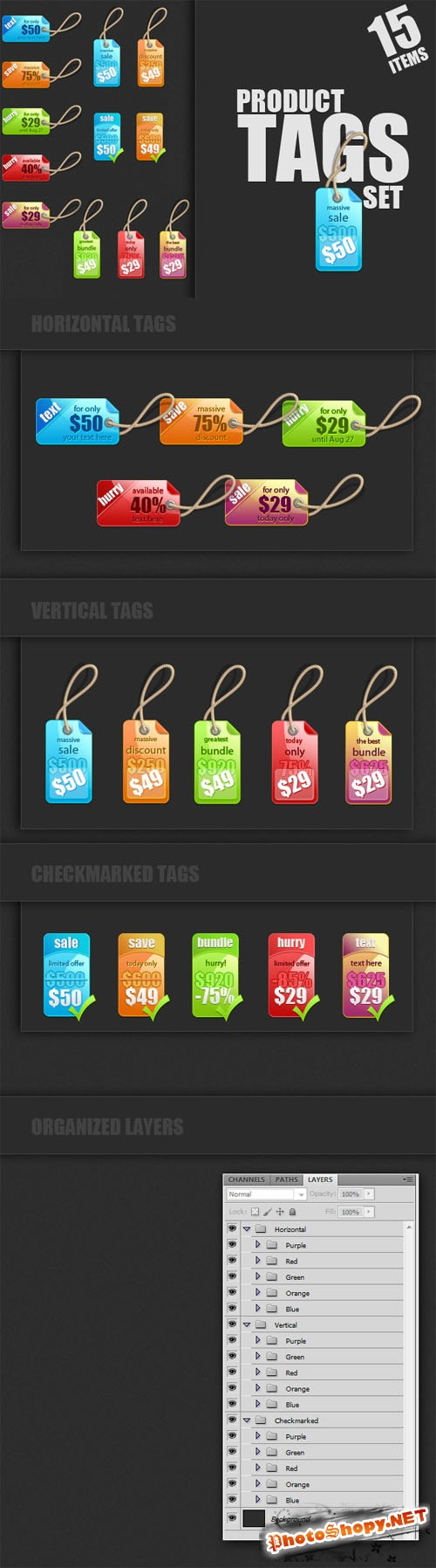 Designtnt - Product Tags for Photoshop