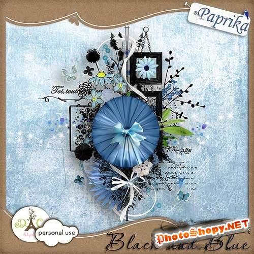 Скрап-набор - Чёрно голубой мираж