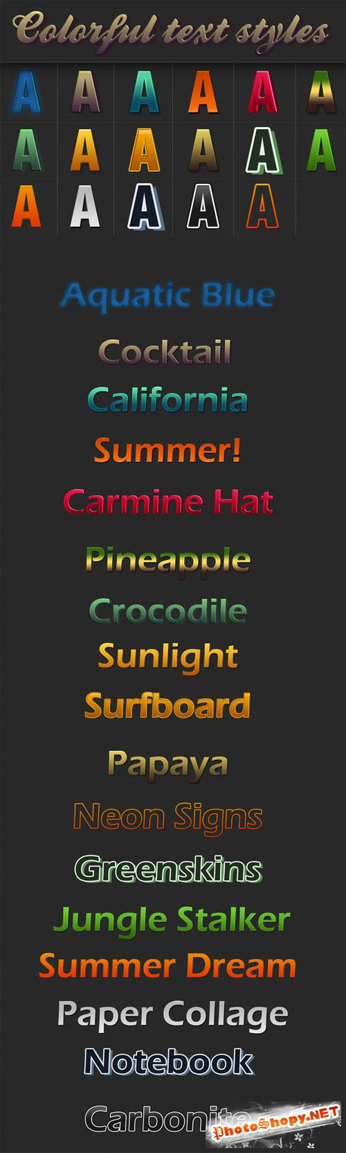 Designtnt - Colorful Text Styles for Photoshop