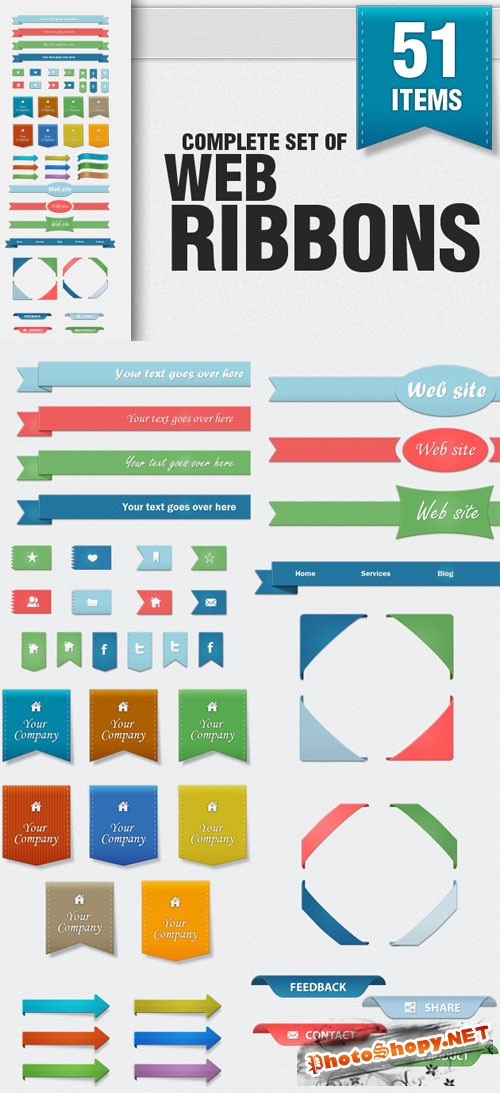 Designtnt - Complete Set of Web Ribbons PSD
