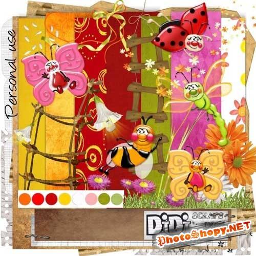 Весенний скрап-набор - Полёт насекомых