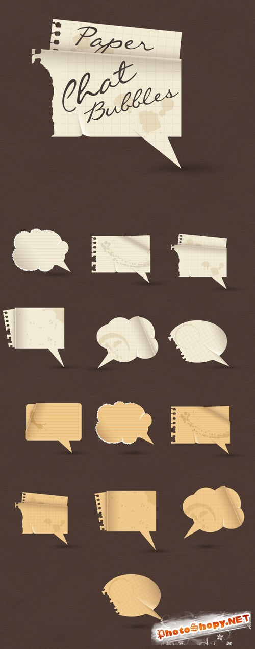 Designtnt - Vector Paper Speech Bubbles
