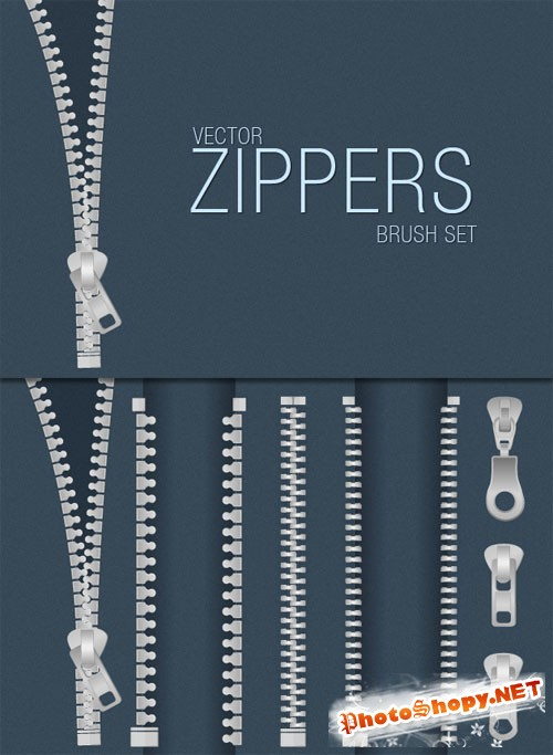 Designtnt - Zippers Vector Brush Set