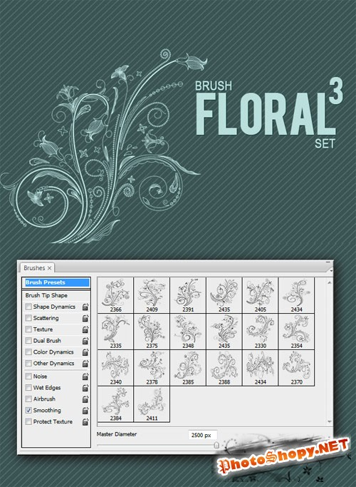 Designtnt - Floral Brushes Set 3