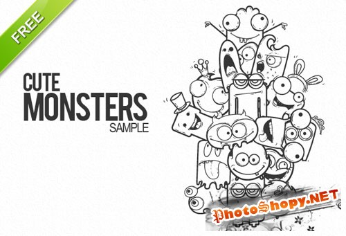 Designtnt - Cute Monsters Vector Sample