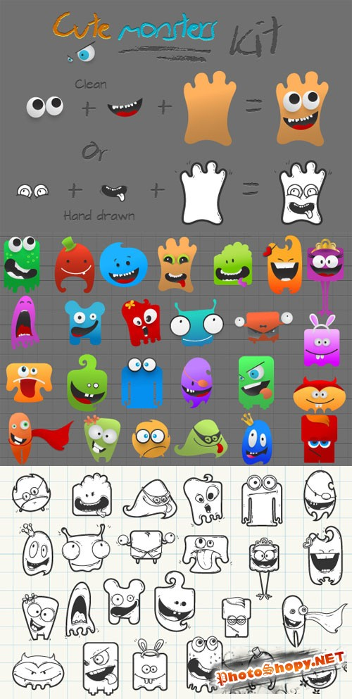 Designtnt - Cute Monsters Creation Kit