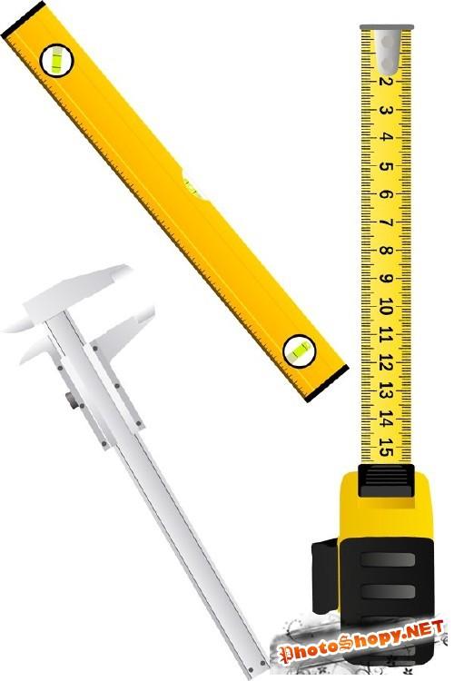Измерительный инструмент (рулетка, уровень, штангенциркуль, линейка) в векторе