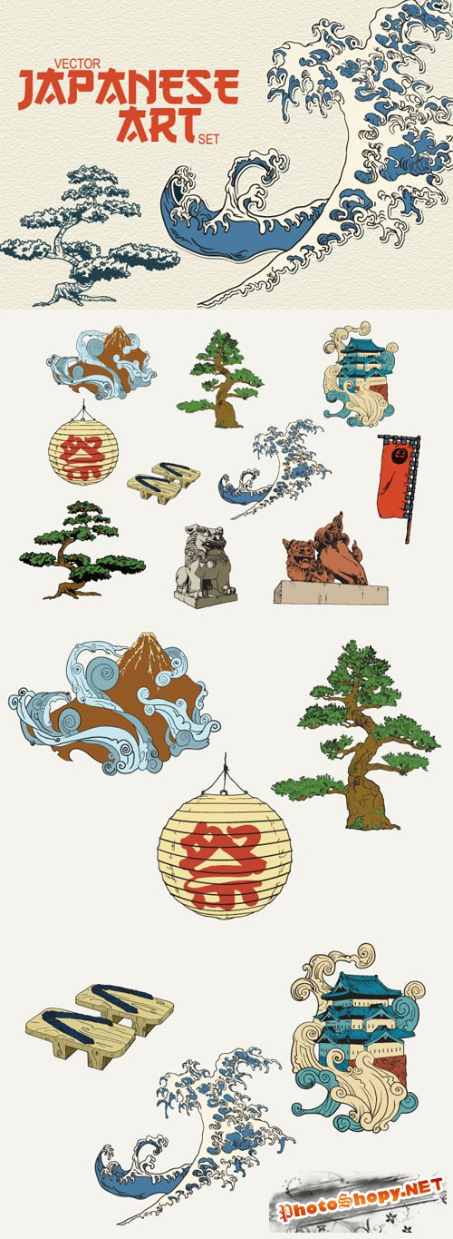 Designtnt - Japanese Vector Elements