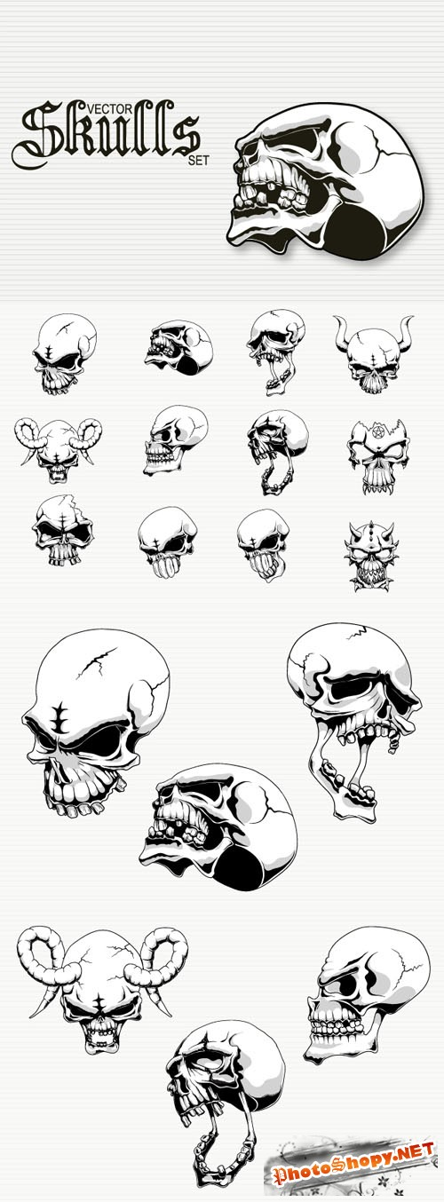 Designtnt - Alien Skulls Vector Set
