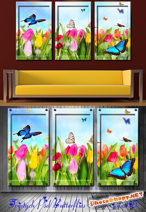 Триптих в psd формате Бабочки