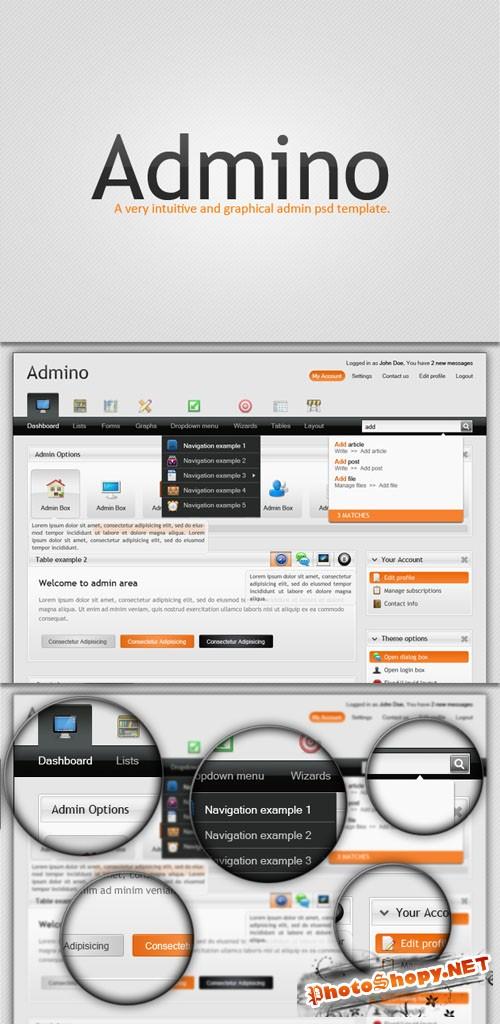 Designtnt - Complete Admin PSD Template