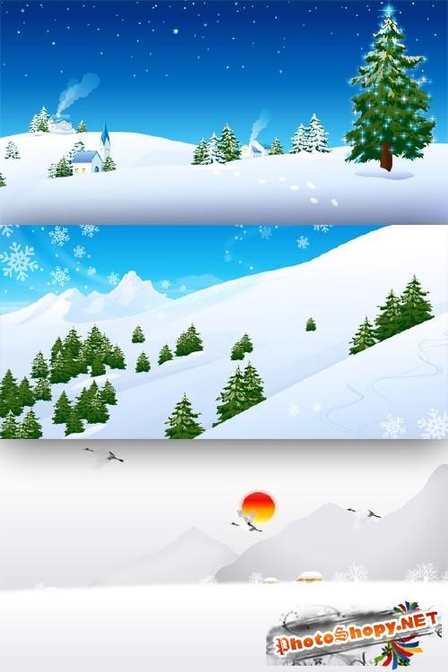 Зимние виды и пейзажи - векторный сток