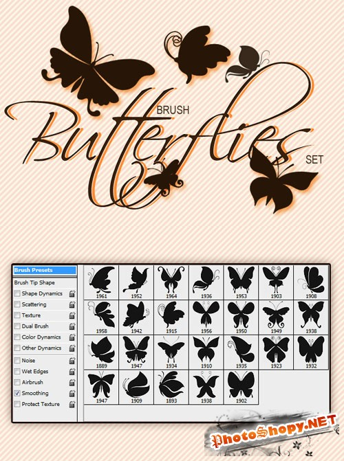 Designtnt - Butterflies Photoshop Brushes Set 1