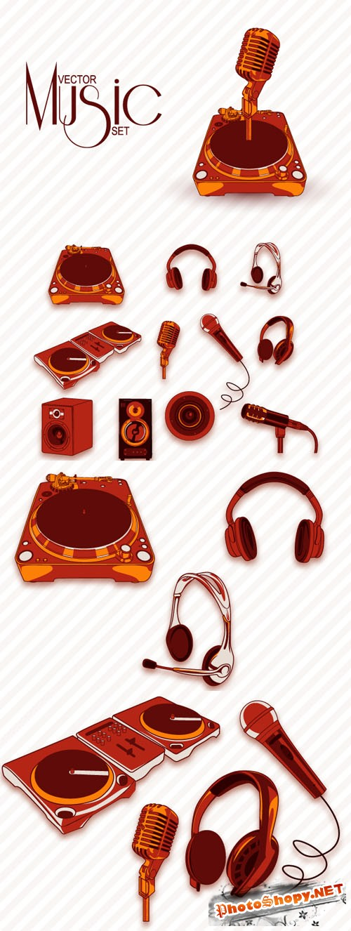 Designtnt - Retro Music Vector Elements