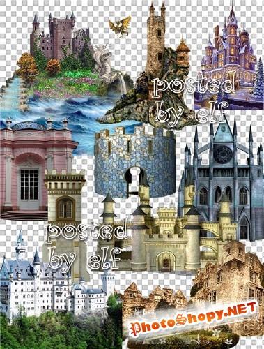 Старинные замки на прозрачном фоне